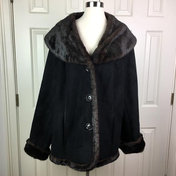 Lane Bryant Jackets & Blazers - Lane Bryant Faux Suede & Fur Coat Size 26/28
